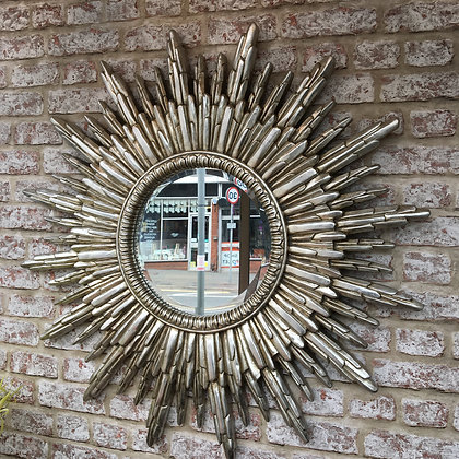 Silver star burst mirror