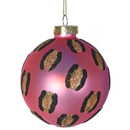Pink Leopard Glitter tree hanging bauble