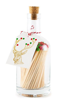 Christmas Gold Deer matches in Bottle