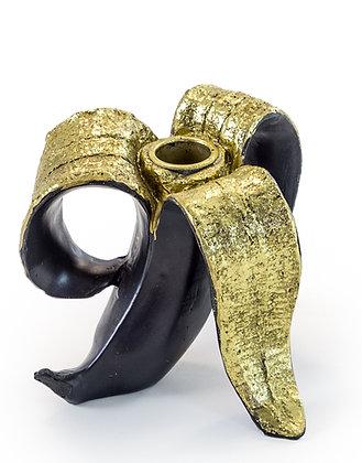 Peeled Black and Gold Banana Skin Candle Holder