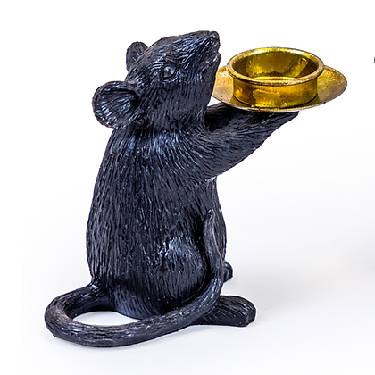Black And Gold Mouse Candleholder
