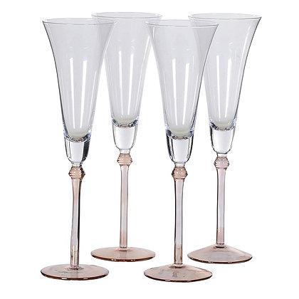 Set of 4 Rose Tint Base Champagne Flutes