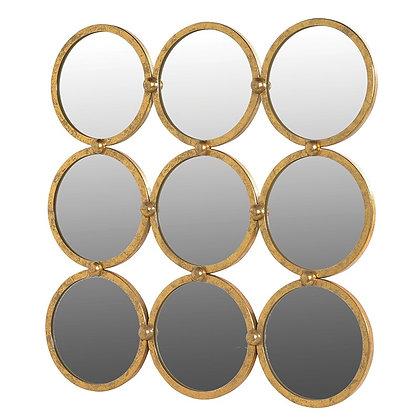 Nine Gold Circles Wall Mirror