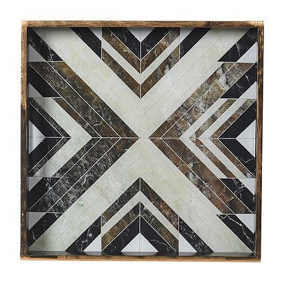Black and White Square Marbled Tray