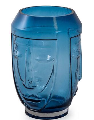 Blue Glass Deco Face Vase