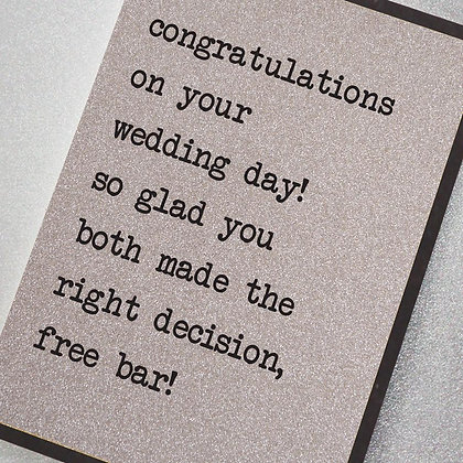 Congratulations On Your Wedding Glitter Card