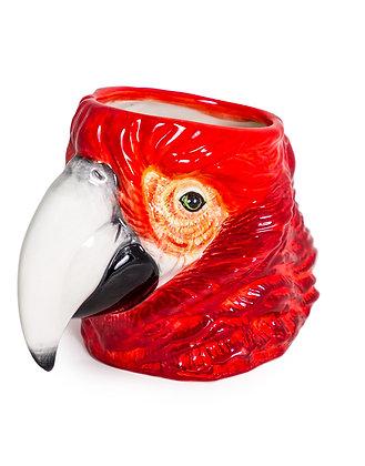 Ceramic Red Parrot Vase