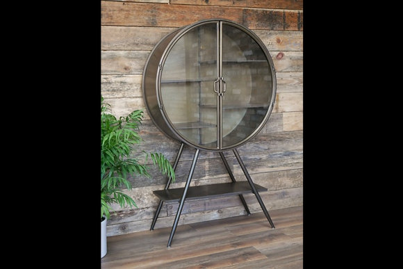 Round 'industrial look' cabinet