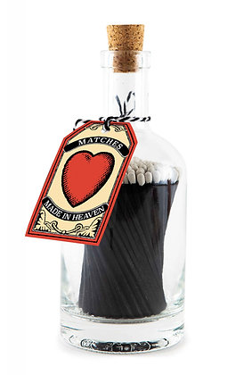 Black Love Heart Matches Bottle
