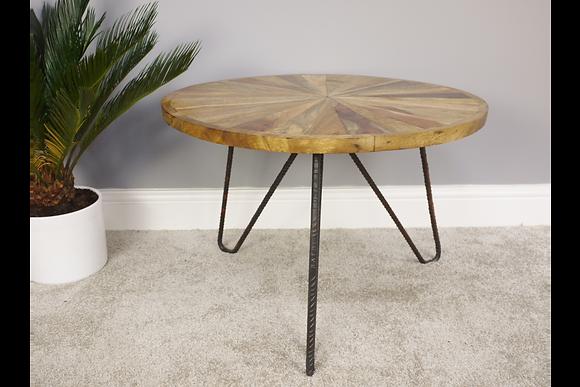 Wooden Coffee Table W Rebar Legs