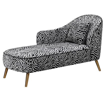 Zebra Chaise Lounge with Gold Legs