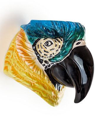 Ceramic Blue Parrot Head Wall Sconce