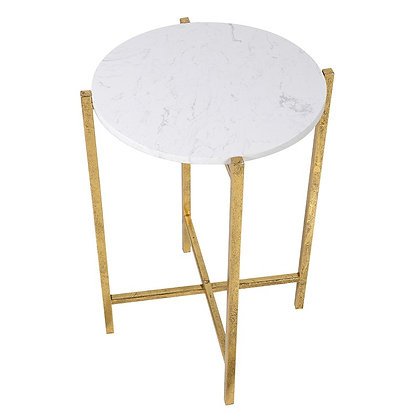Faux White Marble Top Gold Side Table bedside