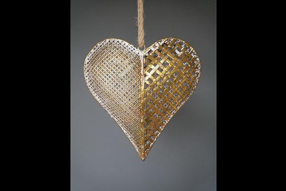 Medium Gold Metal Hanging Heart