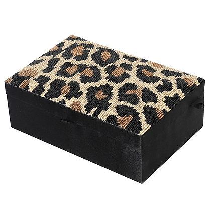 Leopard Beaded Jewellery Box