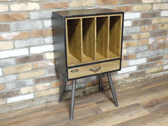 Rustic look record holder bedside