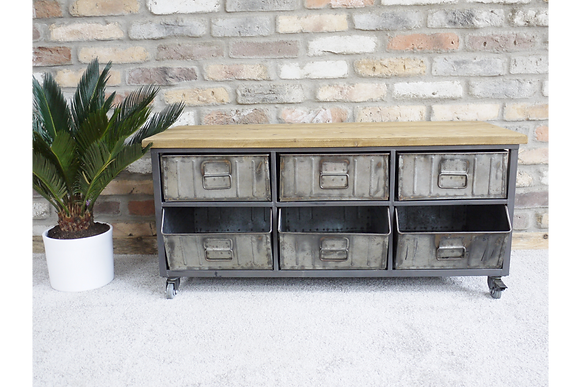 Retro Industrial Metal & Wood Cabinet