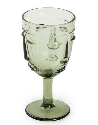 Green Deco Face Wine Glasses