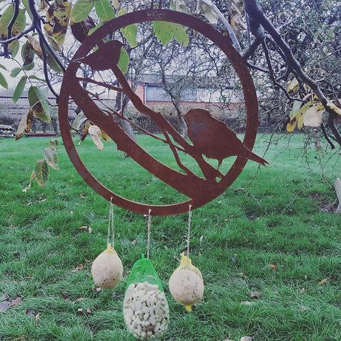 Boule à oiseaux en acier corten 32 x 32 cm