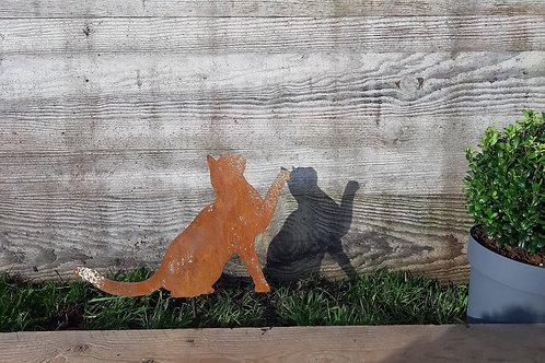 Chat en acier corten 23x26 cm