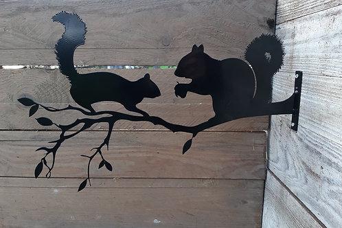 Couple d'écureuils en acier  50 x 33 cm - NOIR