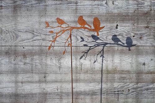 Oiseaux sur branche en acier corten - 55 x 33 cm
