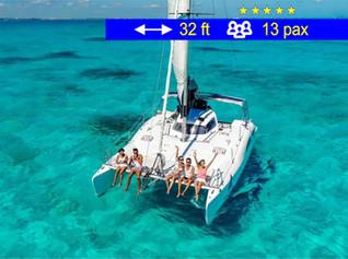 Catamaran for Small Groups Cancun               32 ft  /  13 pax