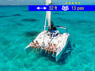 Catamaran for Small Groups Cancun               32 ft  /  13 pax
