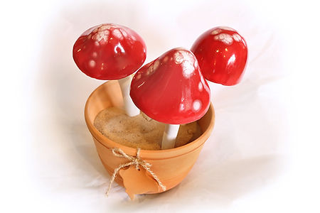 Set of 3 small red mushrooms on sticks