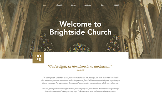 Religie en non-profit website templates – Traditionele kerk