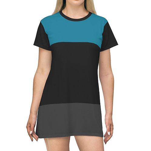 Stripped Teal  T-Shirt Dress