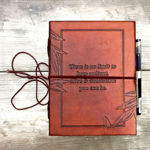 No Limit Quote Handmade Leather Journal