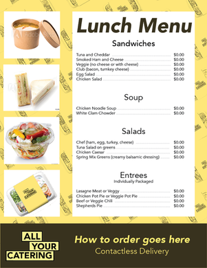 All Your Catering Lunch Menu