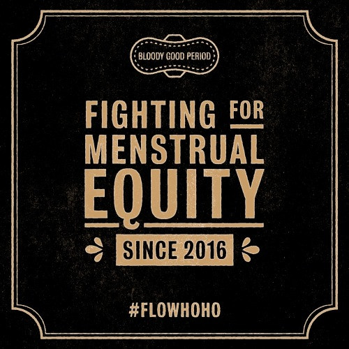 A black sqaure featuring the BGP logo in gold, and the wording 'fighting for menstrual equity since 2016'