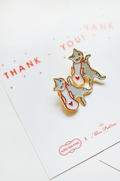 Period Cat Pin Badge