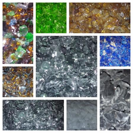Samples of Marble and Glass chips for custom Terrazzo