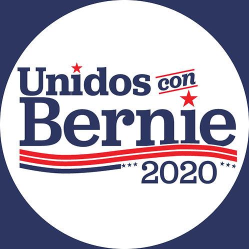 Unidos con Bernie (dark blue on white) (209b)