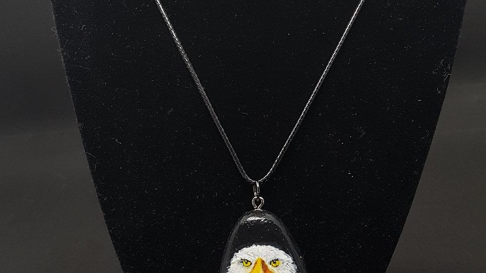 Hand painted eagle rock pendant