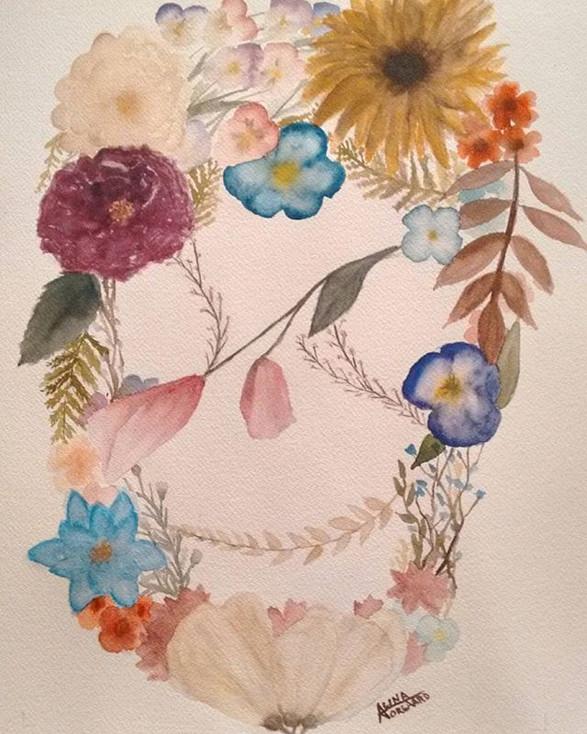 """Blossoming Cranium"" Watercolour"