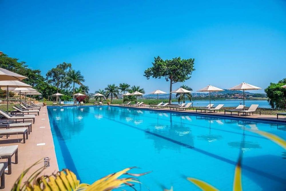 Swimming pool and view of Lake Victoria at Kaazi beach resort