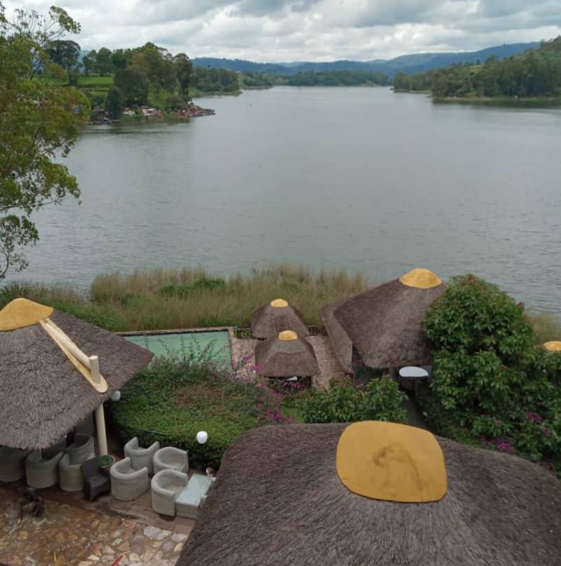 View of Lake Bunyonyi from the balcony at BirdNest Resort