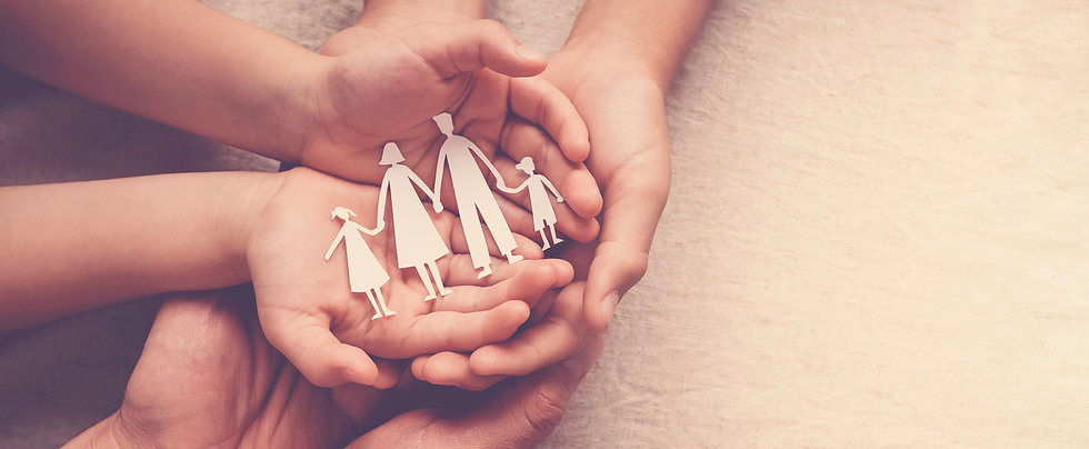 hands holding paper family cutout, family home, foster care, homeless support,world mental