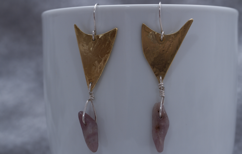 Brass Shark tooth earrings $30