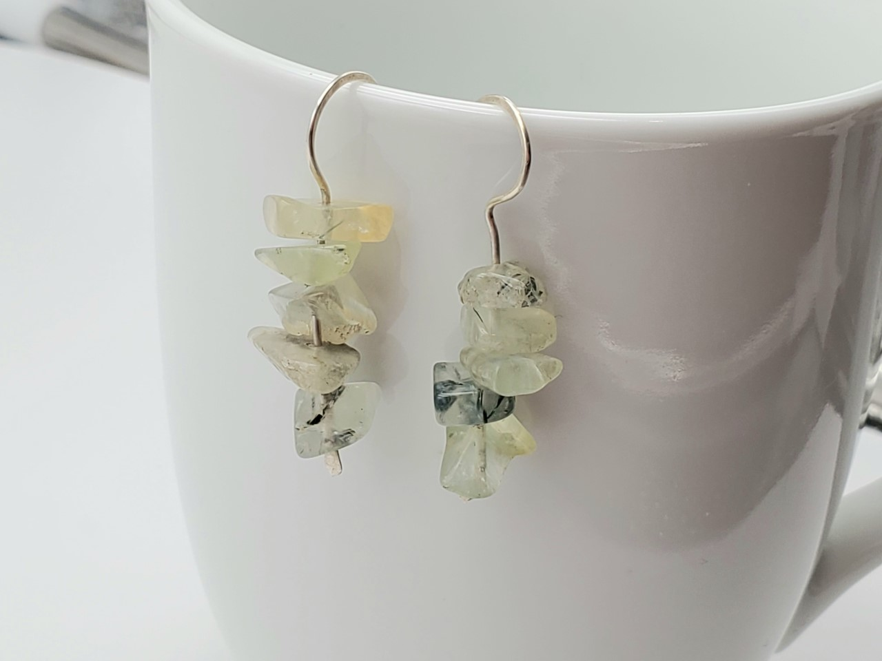 Zig Zag Prehnite Earrings