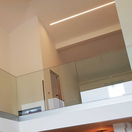Glasgeländer für Wohngalerie