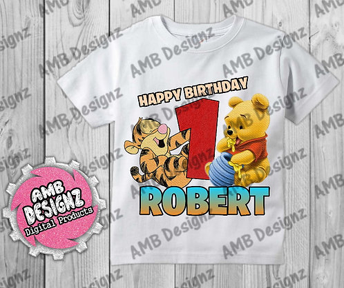 Pooh T-Shirt Birthday Image - Pooh Party Supplies