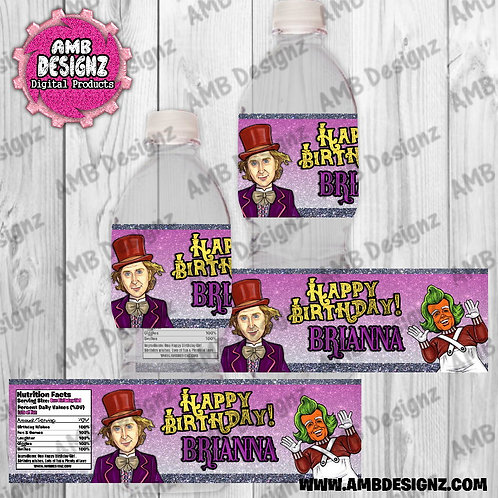 Willy Wonka Water Bottle Wrap - Willy Wonka Party Supplies