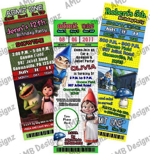 Gnomeo and Juliet Invitations