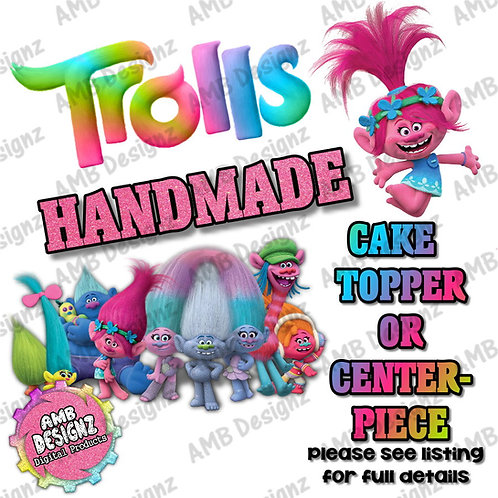 Trolls Cake Topper Centerpiece