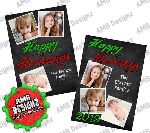Happy Holidays Chalkboard Christmas Greeting Card - Photo Christmas cards